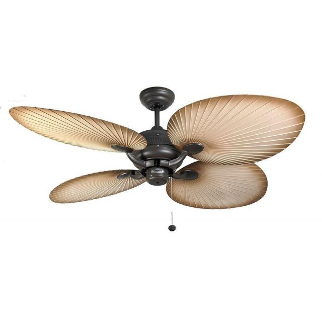 Fantasia 111665 Palm 52 In Ceiling Fan In Chocolate Brown With natural Brown Acrylic Blades