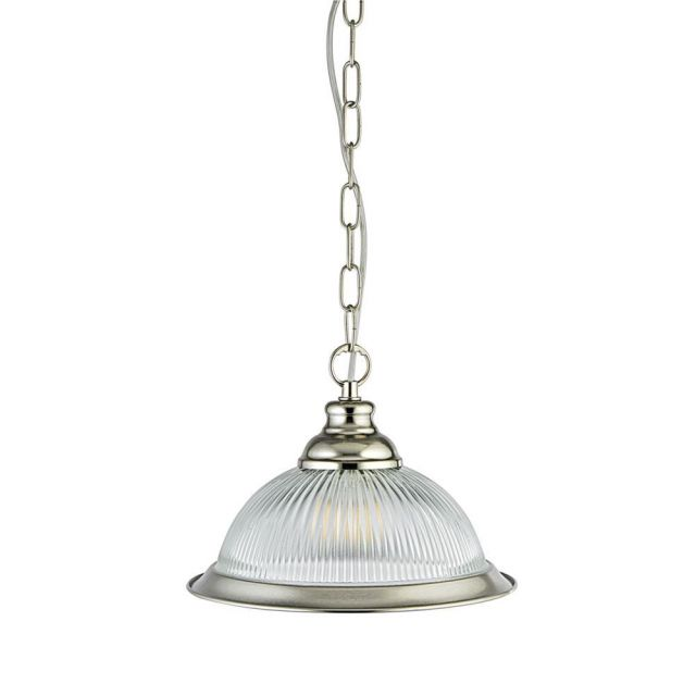 New Jersey Medium American Diner Ceiling Pendant Light in Silver