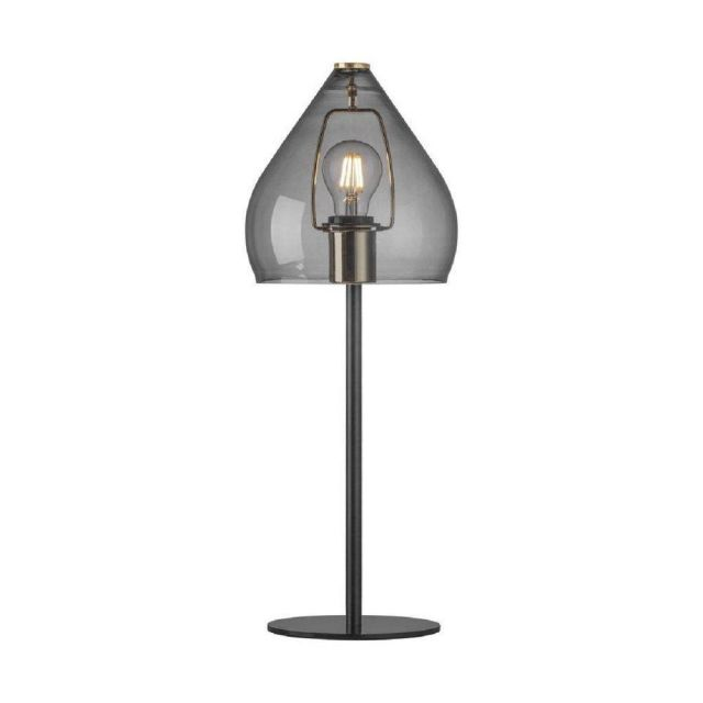 Nordlux 46125047 Sence 1 Light Table Lamp In Black And Smoked Glass