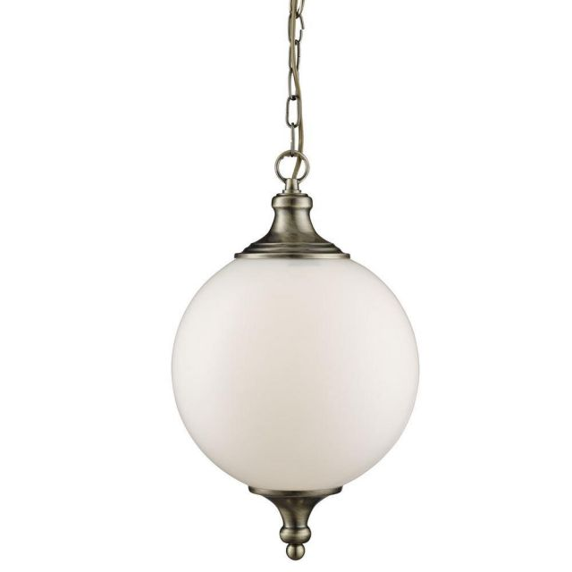 Searchlight 3051AB Antique Brass and Opal Globe Pendant Light