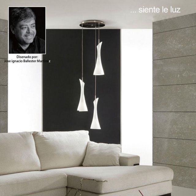 M0770 Zack 3 Lt Satin Nickel Ceiling Pendant With White Glass