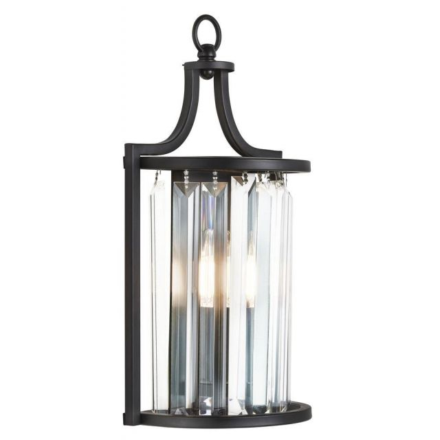 Searchlight 8571BK Victoria 1 Light Wall Light In Black And Crystal Glass