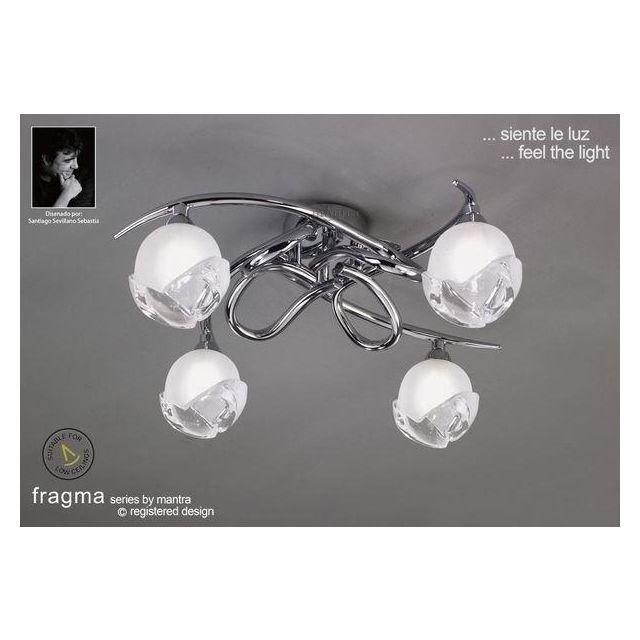 M0807PC Fragma 4 Light Chrome Flush Ceiling Lamp
