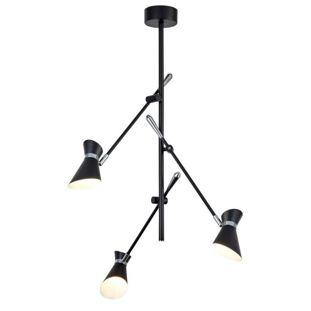Searchlight 5943-3BW Diablo Three Light Ceiling Pendant With Adjustable Arms In Black And White