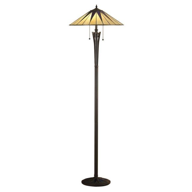 Interiors 1900 64041 Tiffany Dark Star 2 Light Floor Lamp With Shade - Height: 1560mm