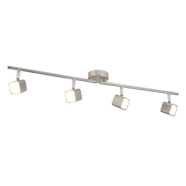 Searchlight 4234SS Quad Four Light Ceiling Bar Spotlight In Satin Silver And Glass