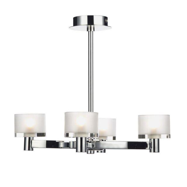 Dar ETO0450 Eton 4 Light Mixed Chrome Semi Flush Ceiling Light
