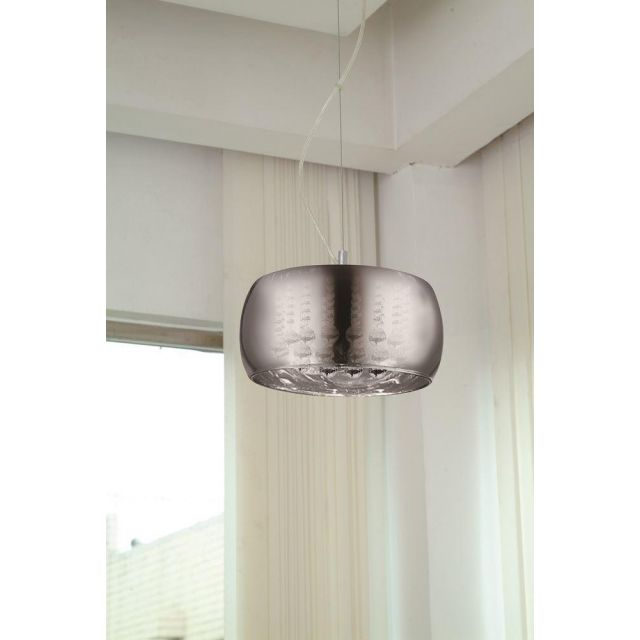 Impex CFH606091/03/A/CH Deni 3 Light Ceiling Pendant Light With 1 Shade In Chrome - Med - Dia: 280mm