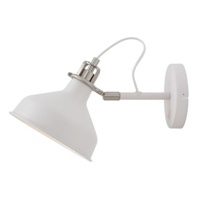 Ryde 1 Light Adjustable Wall Light In Sand White, Satin Nickel And White