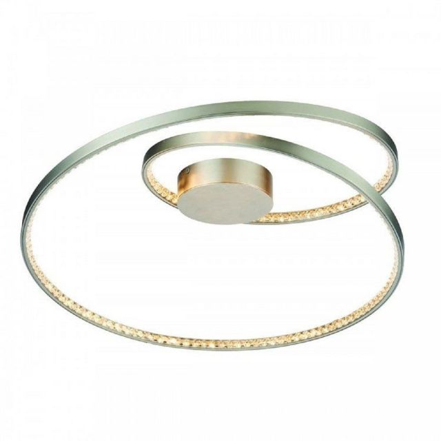 LED Flush Ceiling Light In Matt Nickel Plate And Clear Crystal Glass