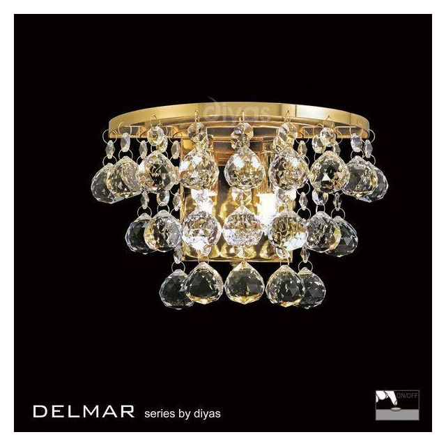 IL30214 Delmar 2 Light Gold And Crystal Wall Lamp