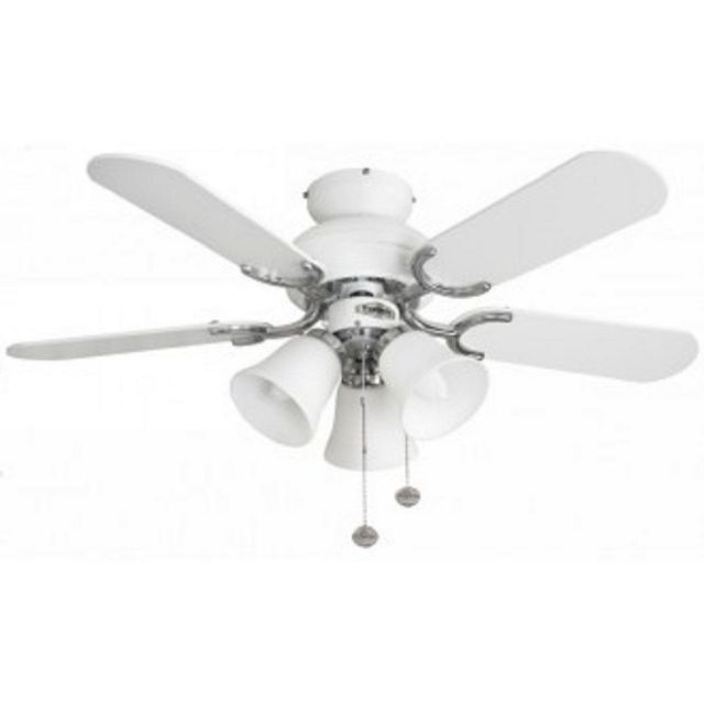 Fantasia 110538 Capri 36 In Ceiling Fan In Gloss White And Stainless Steel With Light