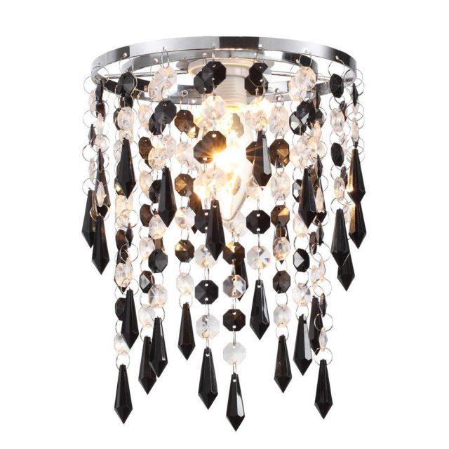 Easy Fit 1 Light Ceiling Pendant Lamp Shade In Black / Clear Glass