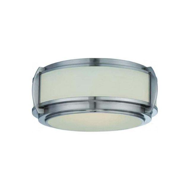 QZ/WILKINSON/F 3 Light Nickel & Glass Flush Ceiling Light