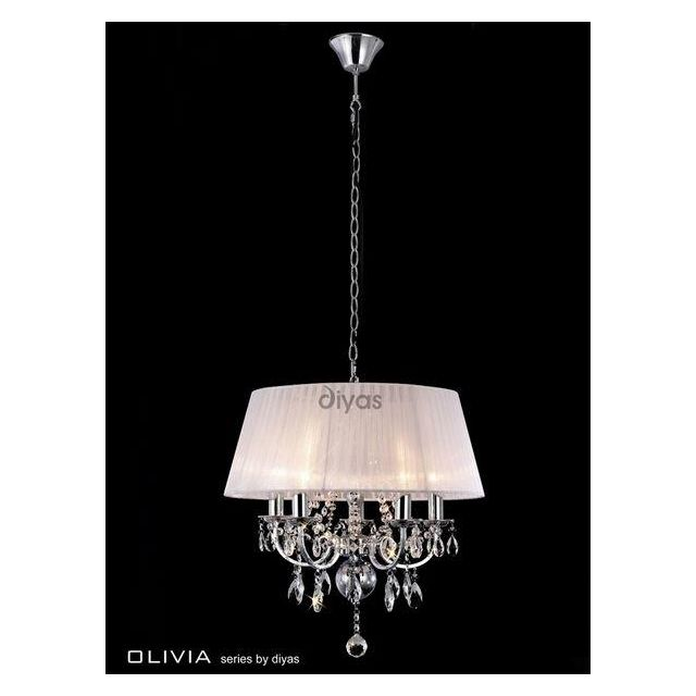 IL30046 Olivia 5 Lt Chrome Crystal Pendant With White Shade