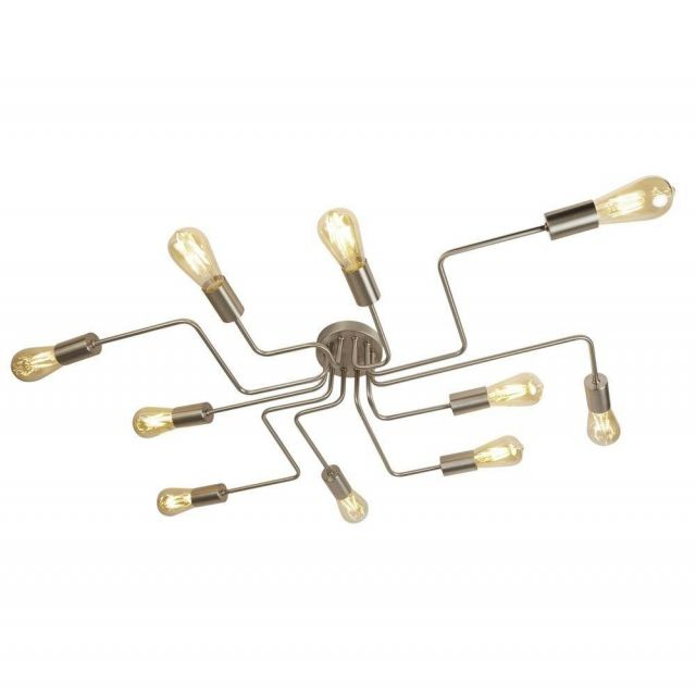 Searchlight 99210-10SS Circuit 10 Light Flush Ceiling Light In Satin Silver