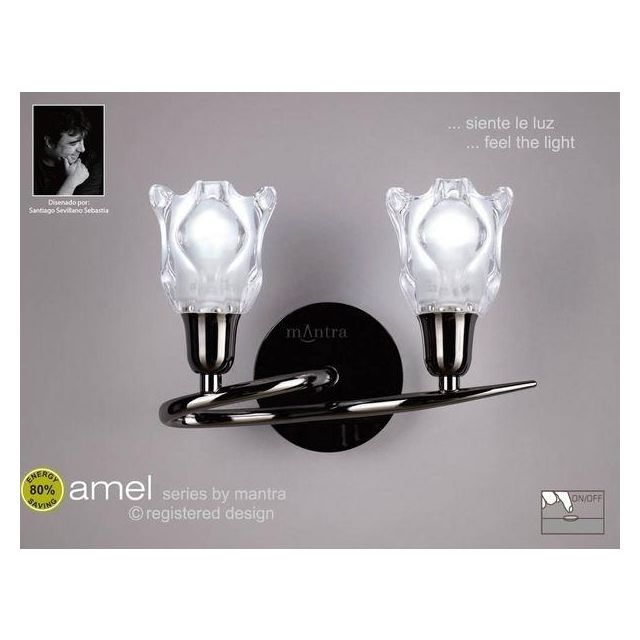 M8581BC/S Amel Low Energy 2 Lt Black Chrome Switched Wall Lamp