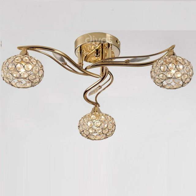 IL30963 Leimo 3 Light French Gold Ceiling Light