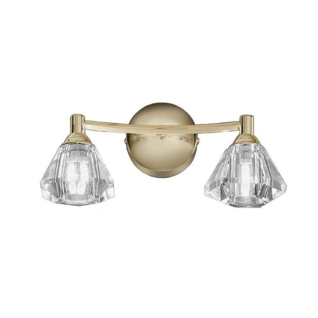 F2230/2 Twist Brass 2 Light Wall Lamp With Crystal Shades