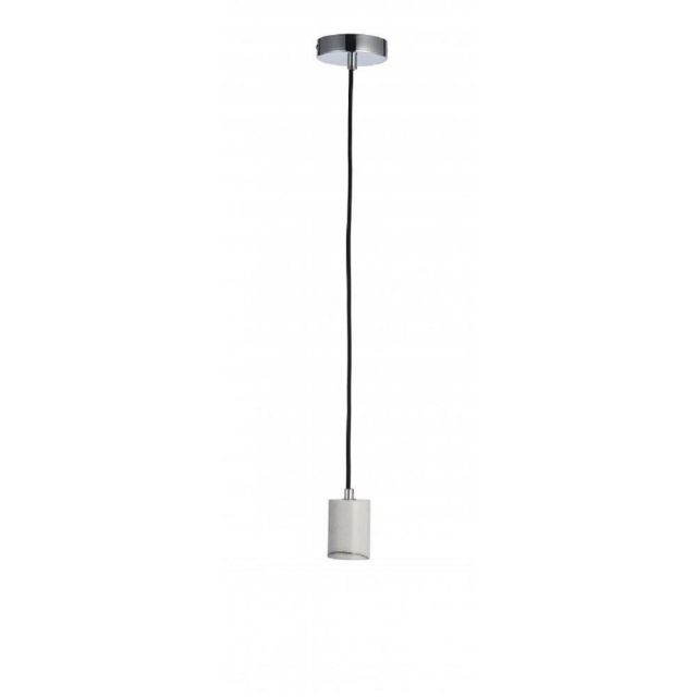 1 Light Ceiling Pendant Light In White Marble With Black Flex