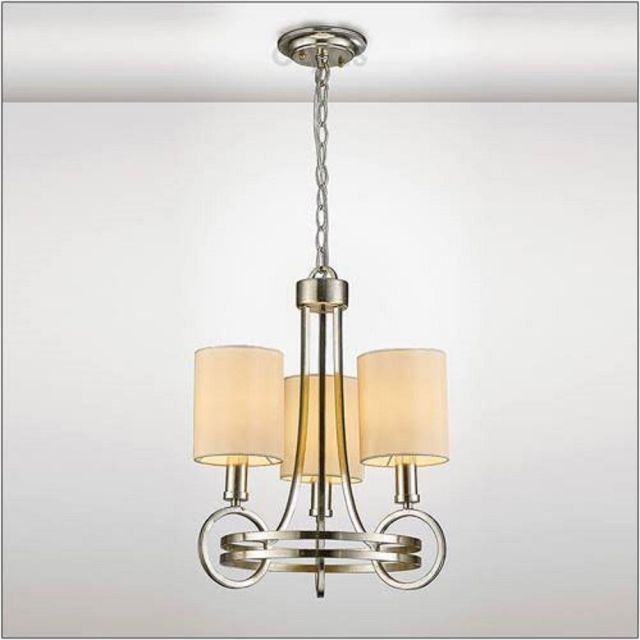 Diyas IL31701 Isabella 3 Light Multi Arm Pendant In Antique Silver With Beige Shades