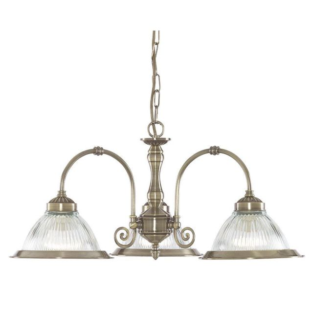 Searchlight 9343-3 American Diner 3 Light Ceiling Pendant In Antique Brass