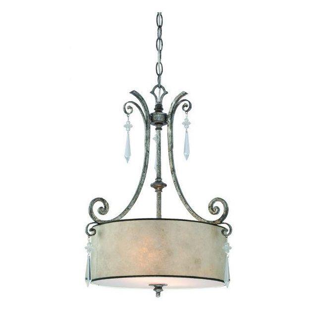 QZ/KENDRA/P/B 2 Light Mottled Silver Ceiling Pendant