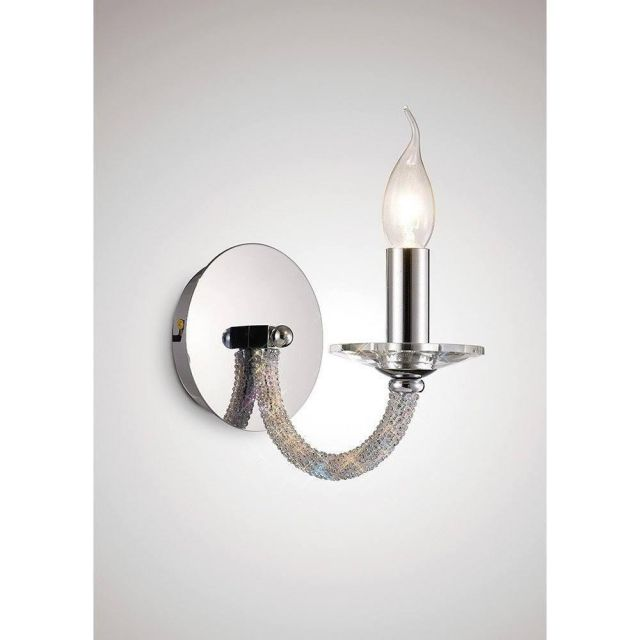 Diyas IL30511 Elena 1 Light Wall Light In Polished Chrome And Crystals