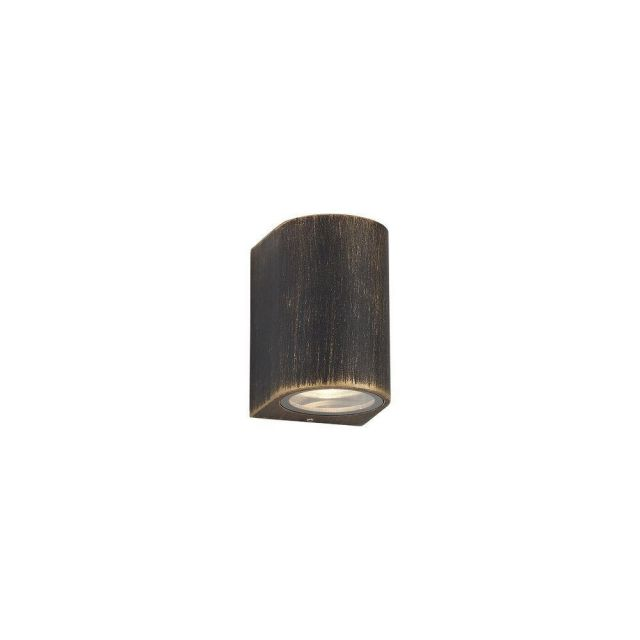 Poole 1 Light Outdoor Curved Wall Light In Black And Gold