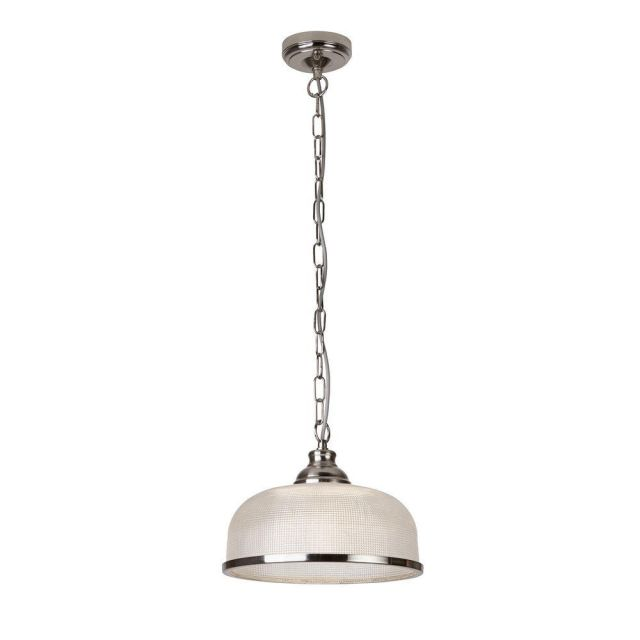 Searchlight 1682SS Bistro II One Light Ceiling Pendant Light In Satin Silver With Glass Shade