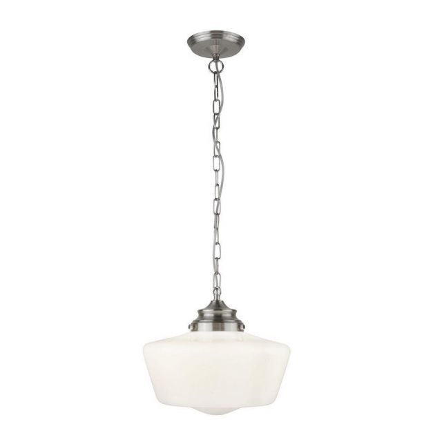 Searchlight 8071-1SS School House 1 Light Ceiling Pendant In Satin Silver