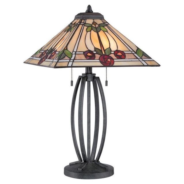 Elstead QZ/RUBY/TL Ruby 2 Light Table Lamp In Vintage Black With Rose Motif Shade