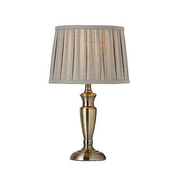 Endon OSLO-S-AN Table Lamp Finished In Antique Brass