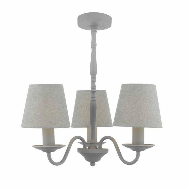 Dar JOA0339 Joanna 3 Light Ceiling Pendant In Grey With Linen Shades