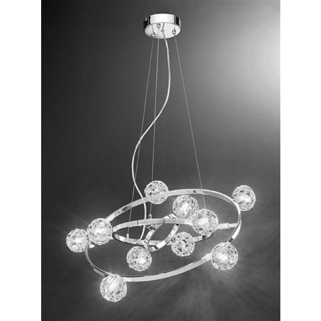 F2305/10 Atoms 10 Light Crystal Ceiling Pendant