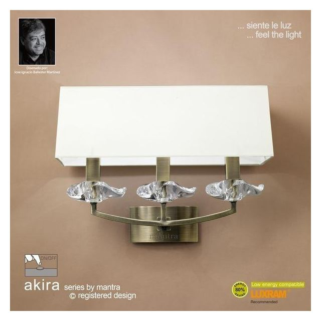 M0788AB/S Akira Antique Brass 3Lt Wall Lamp With Cream Shades