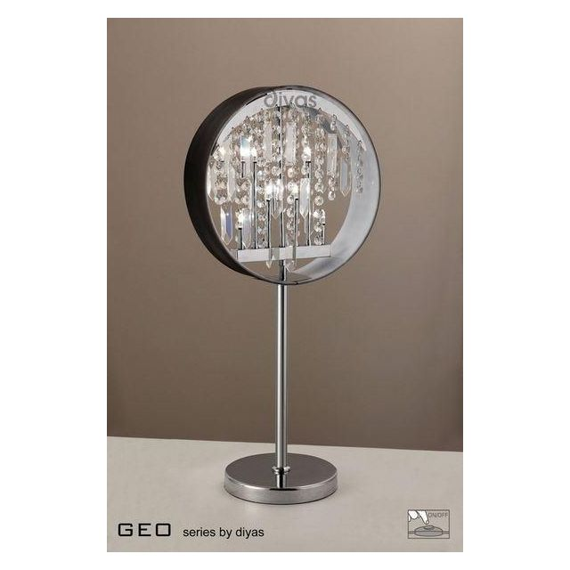 IL30234 6 Light Chrome And Crystal Table Lamp