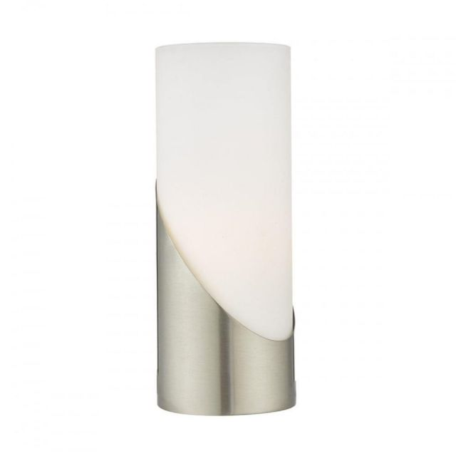 FAR4246 Faris Touch Table Lamp With Satin Nickel Finish And White Opal Glass Shade