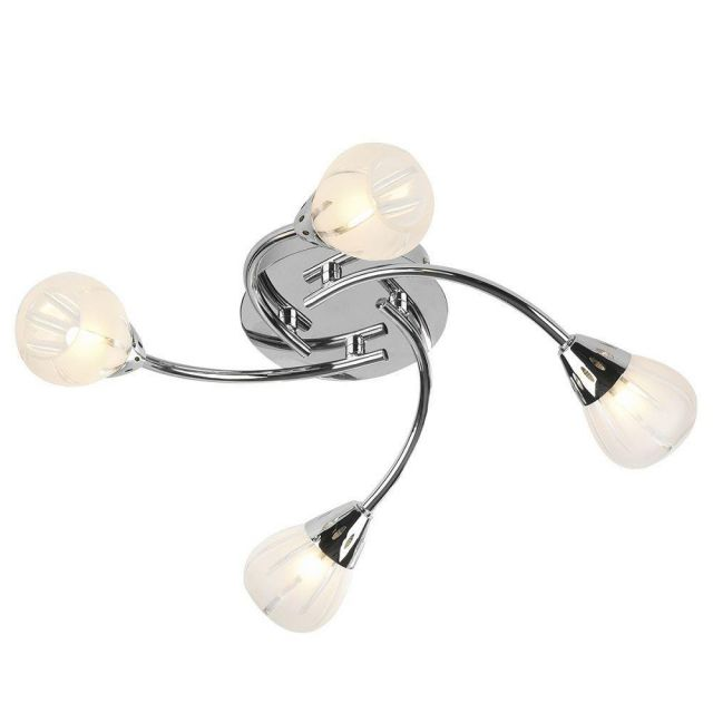 Dar VIL0450 Villa 4 Light Semi-Flush Ceiling Light Polished Chrome