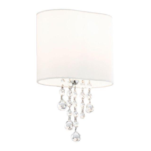 Searchlight 1051-1CC Nina 1 Light Wall Lamp Glass And  Fabric Shade