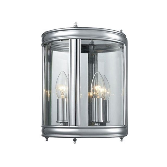 W1003 Half Lantern Wall Light In Chrome With Clear Glass