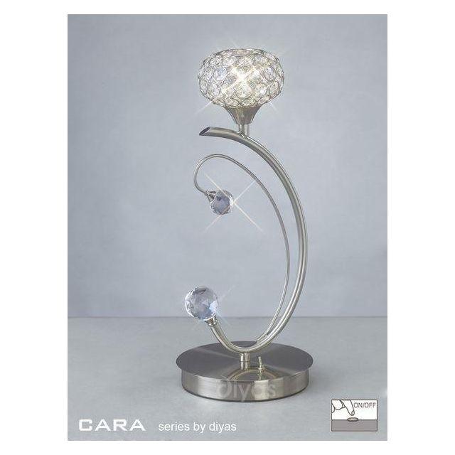 IL30939 Cara 1 Light Satin Nickel Table Lamp