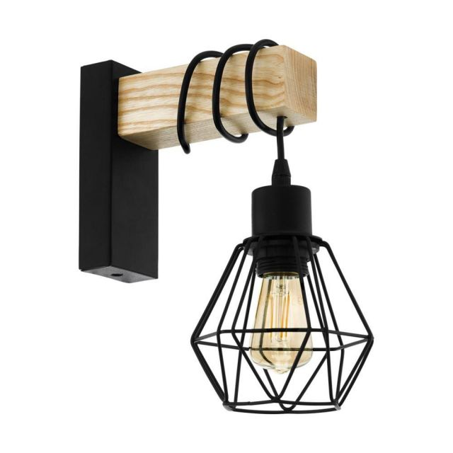Eglo 43135 Townshend 5 1 Light Wall Light In Wood With A Steel Shade