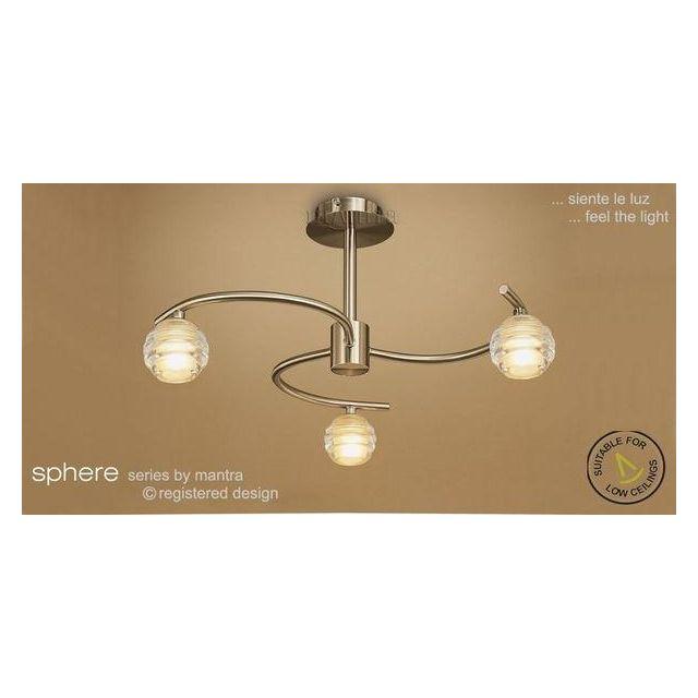 M8011 Sphere Antique Brass 3 Light Semi-Flush Ceiling Light