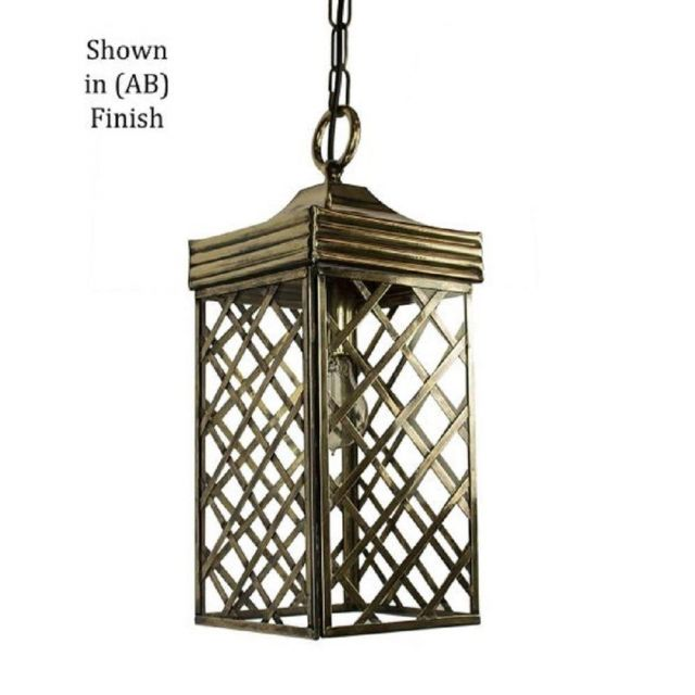 533AB Ivy Small Hanging Lantern In Antique Brass - H:460mm