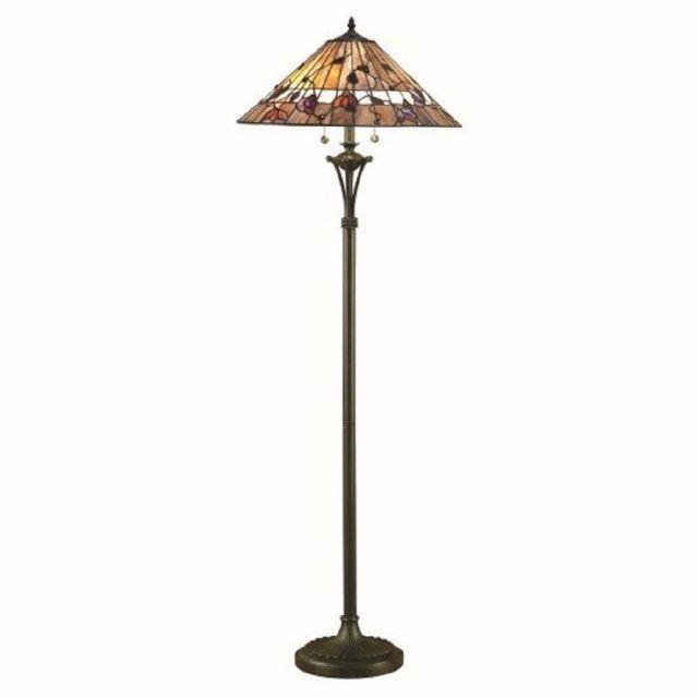 Interiors 1900 63946 Bernwood Tiffany 2 Light Floor Lamp In Bronze With Shade