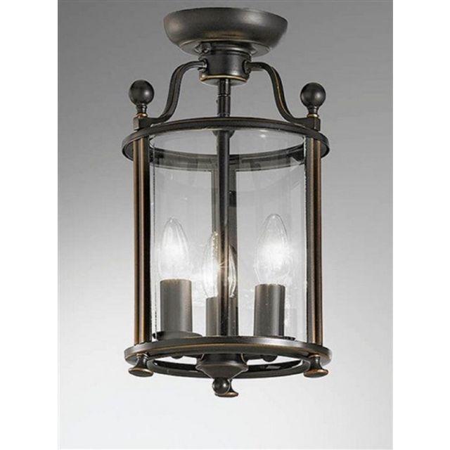 L7001/3 3 Light Antique Bronze Flush Lantern