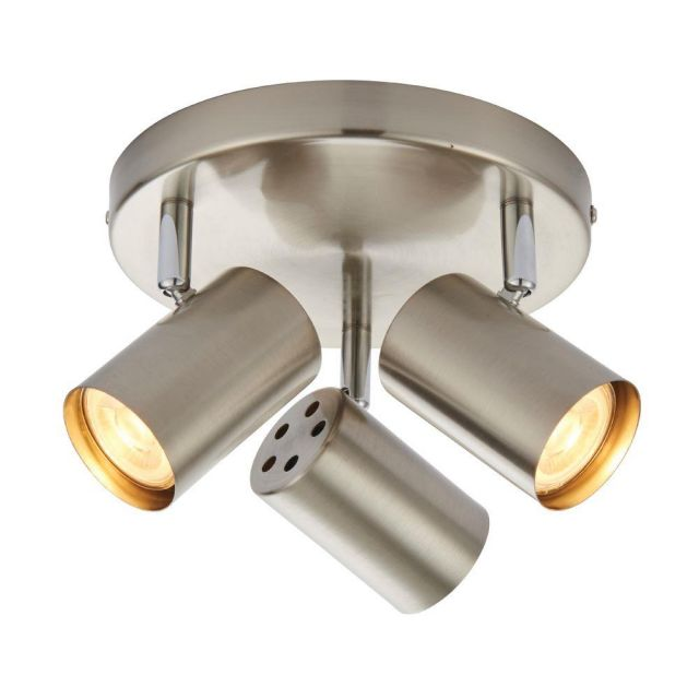 Saxby Lighting 73688 Arezzo Three Light Plate Ceiling Spotlight In Satin Chrome And Chrome Plate