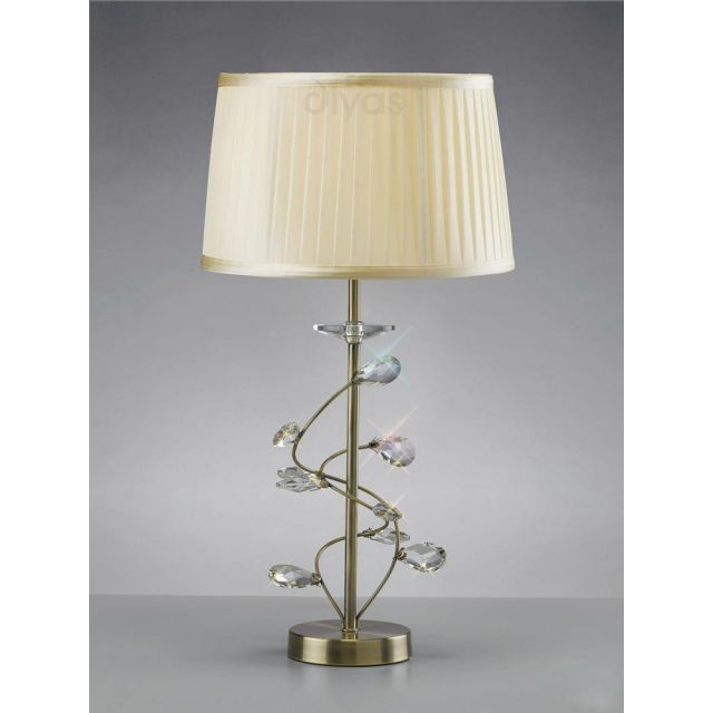 Diyas IL31220 Willow Single Table Lamp in Antique Brass Finish