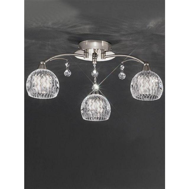 F2295/3 3 Light Satin Nickel, Crystal Semi Flush Ceiling Light